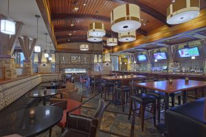 The interior of the Grillfire restaurant in the Hotel At Arundel Preserve in Hanover Maryland located near the BWI airport