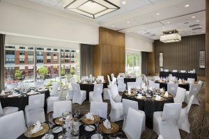 A spacious event venue set up for a wedding at the Hotel at the Arundel Preserve located near Arundel Mills