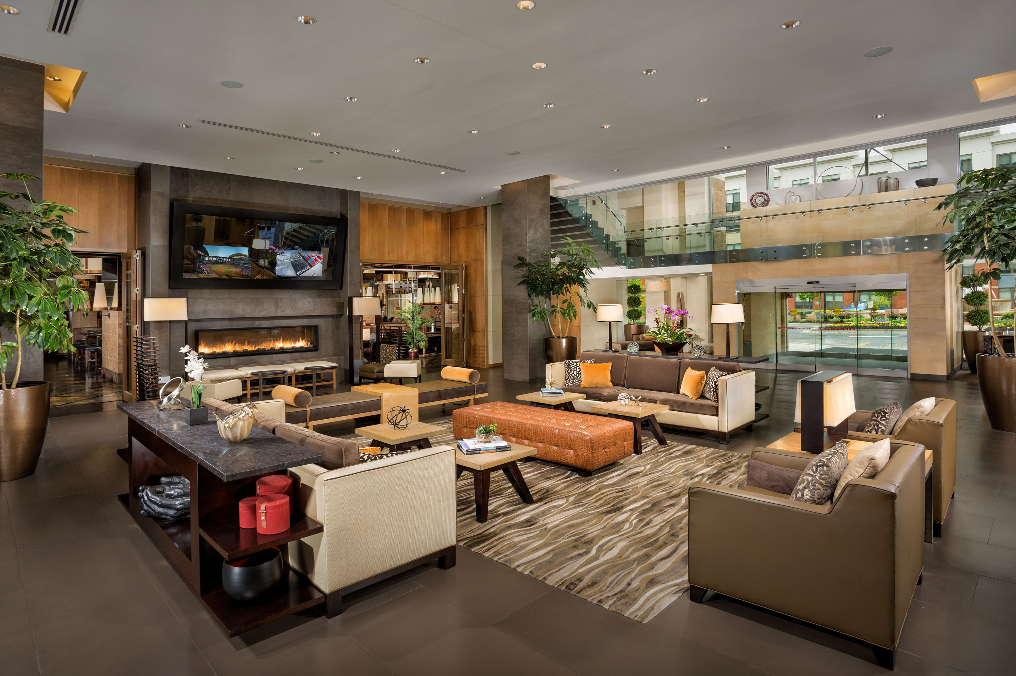 A spacious seating area in the lobby of the Hotel At The Arundel Preserve in Hanover, MD