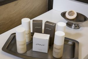 The Hotel Arundel's amenity tray with soaps, shampoo, condition and shower gel by Sense