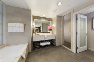 Large walking bathroom with tub with single person sink and separate toilet area at The Hotel at Arundel Preserve