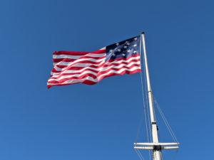 Star Spangled Banner flag flys above Fort McHenry