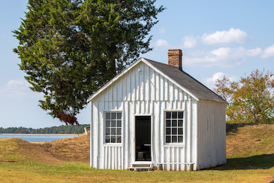 historic cabin at point lookout state park in saint marys county southern maryland usa