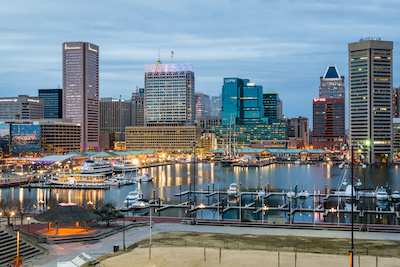Waterfront of Skyline from Federal Hill Baltimore, Maryland looking towards the Inner Harbor