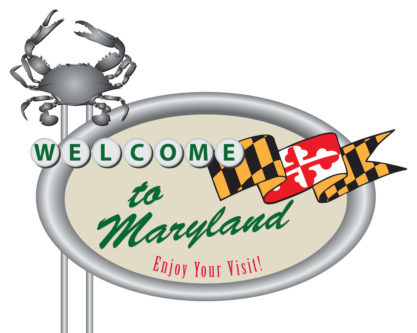 Road sign Welcome to Maryland